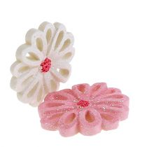 Verspreide bloemen 3cm roze, creme 60st