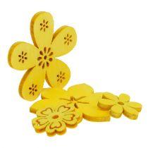 Verspreidingsdecoratie houten bloem geel 2cm - 4cm 96p