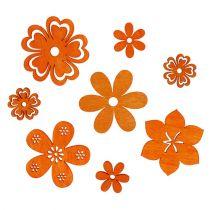 Scatter decoratie hout bloem oranje 2cm - 4cm 96p