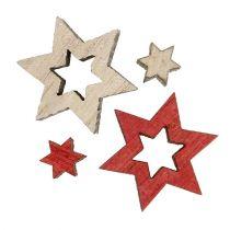 Houten sterrenmix voor verstrooiing rood, grijs 2cm 96st
