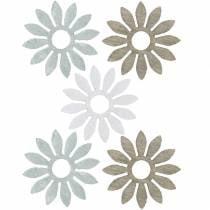 decoratie om te strooien bloem bruin, lichtgrijs, witte houten bloemen om 144p te verspreiden