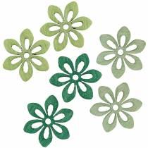 Strooi decoratie bloem groen, licht groen, mint hout bloemen om te strooien 144st