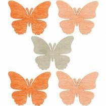 decoratie om te strooien vlinder houten vlinders zomerdecoratie oranje, abrikoos, bruin 144st