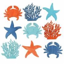 Maritieme decoratie om te strooien Hout Lichtblauw, Blauw, Oranje Gesorteerd 4cm 72st