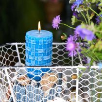 Rustieke stompkaarsen, kaarsen met mandpatroon, turquoise waskaarsen 110/65 2st