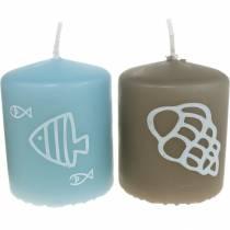 Stompkaarsen 60/50 Maritieme decoratiekaars Zomerdecoratie Mix Safe Candle 4st