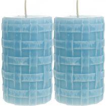 Waskaarsen mandpatroon, stompkaarsen, kaarsen Rustiek lichtblauw 110/65 2st