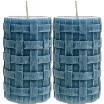 Zuilkaarsen blauw, waskaarsen Rustic, kaarsen met gevlochten patroon 110/65 2st