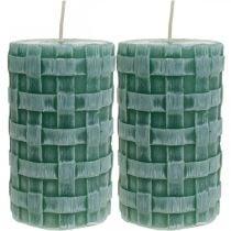 Kaarsen met gevlochten patroon, stompkaarsen Rustiek groen, kaarsdecoratie 110/65 2st
