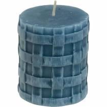 Zuilkaarsen rustiek blauw 80/65 kaarsen rustiek 2st