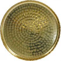 Rond metalen dienblad, gouden sierbord, oosterse decoratie Ø30cm