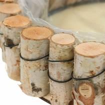 Dienblad, naturel berkenhout, rond, Ø24cm