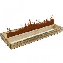 Decoratief dienblad Paasweide, lentedecoratie, houten dienblad met RVS roest 35×15cm