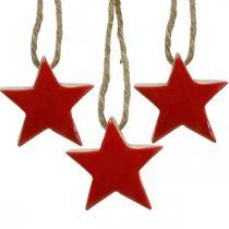 Houten ster kerstboomversiering rood, natuurlijke decoratieve sterren 5cm 24st