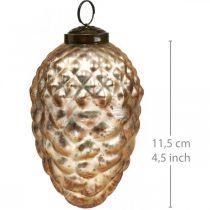 Denneappelhanger, kerstboomversiering, herfstdecoratie, echt glas, antiek-look Ø7cm H11,5cm 6st