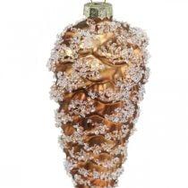 Dennenappels met sneeuw, kerstversieringen, kerstboomversieringen Bruin H13cm Ø6cm Echt glas 3st