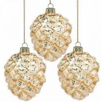 Kegels om op te hangen, boomversieringen, met sneeuw bedekte decoratieve kegels Gouden H9.5cm Ø8cm echt glas 3st