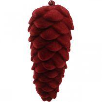 Decoratiehanger herfstkegels, adventsversieringen, dennenappels geflockt rood H13cm Ø6cm 6S