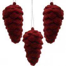 Decoratieve kegels gevlokt, herfstdecoratie, dennenappels rood, advent H8.5cm Ø4.5cm 8st