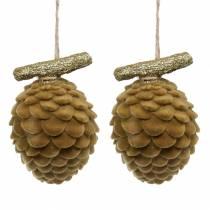 Kegels Hangende decoratie Bruin, Goud 9×7cm/8,5×6cm 4st