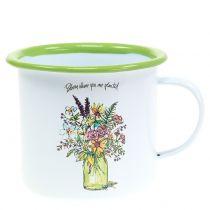 Decoratieve beker met geëmailleerde plantenpot Ø11,5cm H10cm