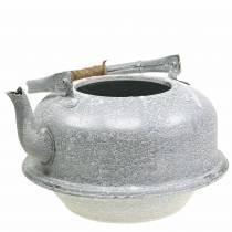 Plantenbak theeketel zinkgrijs, wit gewassen Ø26cm H15cm