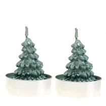 Theelicht kerstboom groen Ø4cm 6st