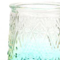 Theelicht glas oranje / geel / turquoise Ø8cm 3st