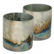 Theelicht glas, kandelaar, glazen lantaarn antiek look Ø10cm H10.5cm 2st