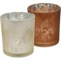 Glazen lantaarn, theelichtglas met bladmotief, herfstdecoratie Ø8cm H9cm 2st