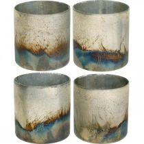 Kaarsglas, decoratieve lantaarn, tafeldecoratie antiek look Ø9,5cm H10cm 4st