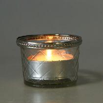 Theelicht glazen ruit met metalen rand Ø8cm H5.5cm 4st