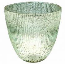 Kaarsglas lantaarn blauw groen tafeldecoratie glas Ø21cm H21.5cm