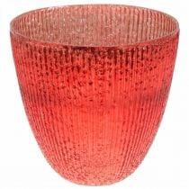 Kaarsglas lantaarn rood glas deco vaas Ø21cm H21.5cm