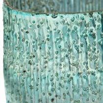 Theelichtje glas blauw windlicht glazen tafeldecoratie 12cm