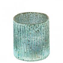 Theelichtje glas blauwe lantaarn glas kaars decoratie 8cm