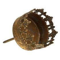 Waxinelichthouder goud antiek Ø5cm H10cm 1st