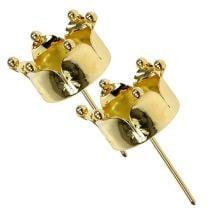 Waxinelichthouder kroon goud Ø4.8cm 4st