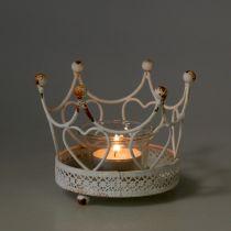 Waxinelichthouder kroon wit Ø13cm H9,5cm