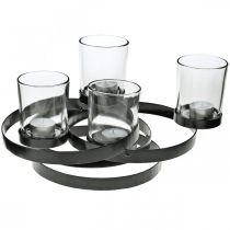 Advent kandelaar metaal rond zwart 4 glazen 34 × 26 × 18cm