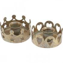 Kaarshouder metaal voor kaarskaarsen antiek optiek goud Ø7cm 4st