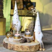 Gnome Kerstdecoratiefiguur wit, goud Ø6.5cm H22cm 2st