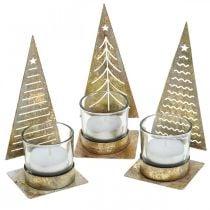 Theelichthouder kerstboom metaal, glazen lantaarn H15cm 3st