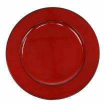 Decoratief bord rood / zwart Ø22cm