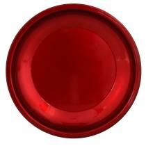 Decoratief bord van metaal rood met glazuureffect Ø23cm