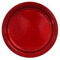 Decoratief bord van metaal rood met glazuureffect Ø38cm