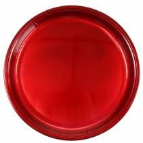 Decoratief bord van metaal rood met glazuureffect Ø50cm