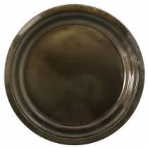 Decoratief bord van metaalbrons met glazuureffect Ø30cm