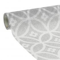 Tafellint non-woven met patroon grijs 30cm x 300cm