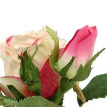 Tafeldecoratie roos in pot creme 14cm
